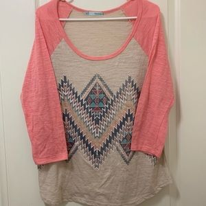 3/4 sleeve tribal print shirt